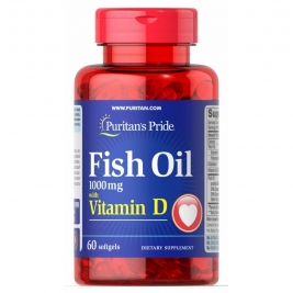 Fish Oil with Vitamin D, Puritan's Pride, 1000мг, 60 капсул