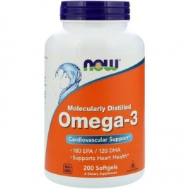 NOW Foods Omega-3 Molecularly Distilled Softgels 200 caps