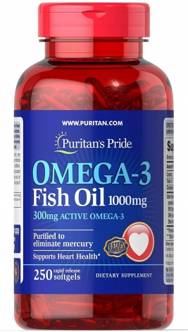 Puritans Pride, Omega 3 1000 мг, 250 капсул