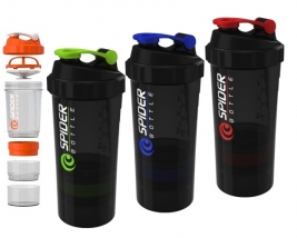 Shaker 3-chamber for sports nutrition SPIDER BOTTLE (500 + 100ml, PE, assorted colors)